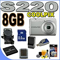 Nikon Coolpix S220 10MP Digital Camera w/ 3x Optical Zoom (Warm Silver) BigVALUEInc Accessory Saver 8GB EL10 Battery/Charger Bundle