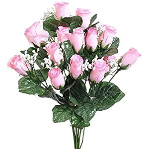 Delightfully 14 Long Stem Light Pink Roses Buds Silk Wedding Flowers Bouquets Centerpieces 112