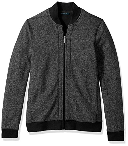 Perry Ellis Men's Texture Bomber Knit Jacket, Charcoal Heather, Small by Perry Ellis