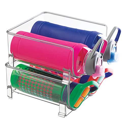 mDesign Stackable Water Insulated Travel Glass Nalgene Contigo Bottles Storage Holders Racks for Kitchen Countertops, Cabinet - Holds 4 Bottles, Clear