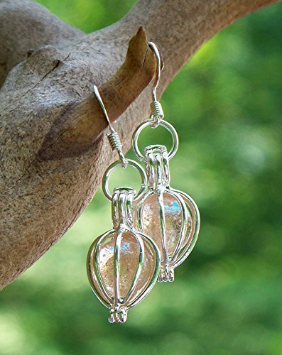 Recycled Antique Pink Depression Glass Drop Earrings
