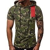 Kiasebu Men's New Summer T-Shirt Casual Camouflage Hat Vest Sports T Shirt Printing Elastic Short Sleeve Tops