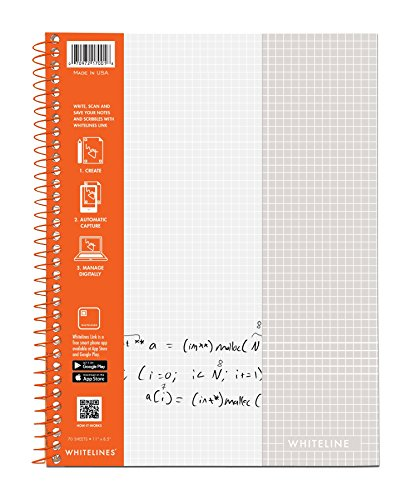 WhiteLines 17001cs Case of 12 Whitelines Notebooks, Grey Lined Paper, Background Disappears When You Scan Pages With Whitelines Free App, Case 11''x8.5'' Graph, Orange by WhiteLines (Image #10)