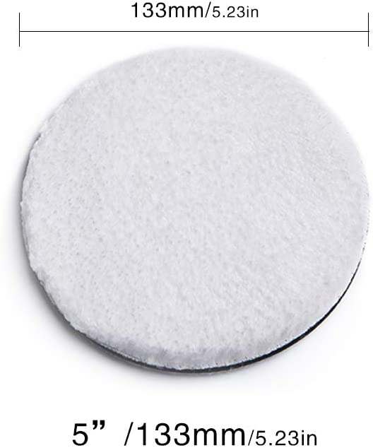 "5/"" Car Wax Applicator Pad Polishing Hook and Loop Pad Soft Buffing Wool Pad Kit for Polisher Buffer Pneumatic Machine Car Stone Ceramic Furniture Glass SGCB Ultra Fine Microfibre Finishing Pad"