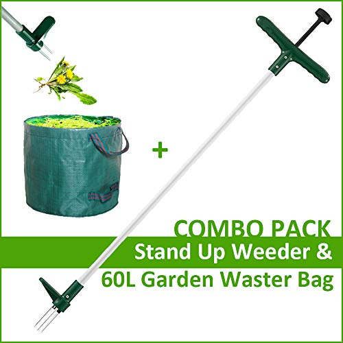 Walensee Stand Up Weeder and Weed Remover Tool, Stand up Manual Weeder Hand Tool with 3 Claws, Stainless Steel and High Strength Foot Pedal, Weed Puller, Combo Pack (Stand Up Weeder&Garden Waste Bag) (Best Stand Up Weeder)