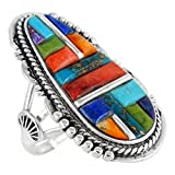 Southwest Style Ring Sterling Silver Genuine Turquoise & Gemstones (SELECT color) (Multi-51, 7)