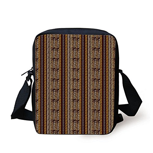 IPrint Zambia,Hand Drawn Ethnic Traditional Folk Motif with Geometric Digital Effects Artwork,Multicolor Print Kids Crossbody Messenger Bag Purse