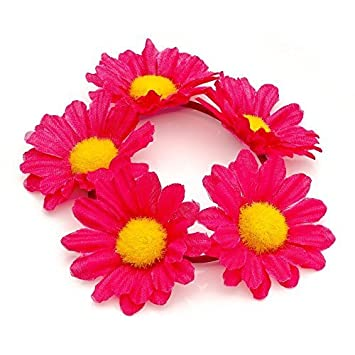 New Womens 4.5cm Flower Design Elasticated Hair Scrunchie Hair Accessories