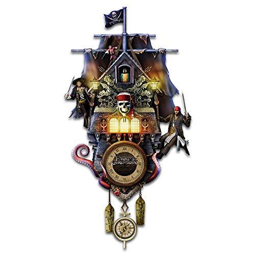 The Bradford Exchange Collectible Disney Pirates of The Caribbean Illuminated Black Pearl Cuckoo Clock (Clock Pearl)