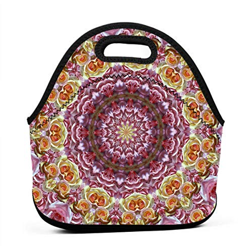 Janeither Roses Mixed Kaleidoscope Graphics Portable Reusable Lunch Bag Waterproof Picnic Tote Insulated Cooler Zipper - Baby Nba Dvd