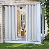 white outdoor curtains - PONY DANCE Décor Outdoor Blackout Curtain Panels Indoor Outdoor Fade Resistant Light Blocking UV Protection Curtains Drapes with Grommet, 52 Wide by 95-inch Long, Greyish White, 1 Pc