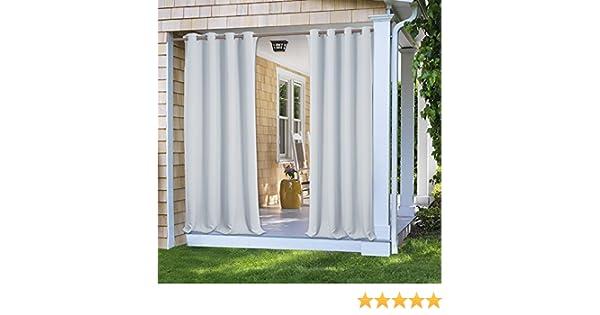 PONYDANCE Cortina Termica Aislante Blanca Gris Impermeable para Exterior (132 x 271 cm (An x Al), Una Pieza)/ Cortinas para Jardin Terraza Gacebo Tela Antimoho: Amazon.es: Jardín