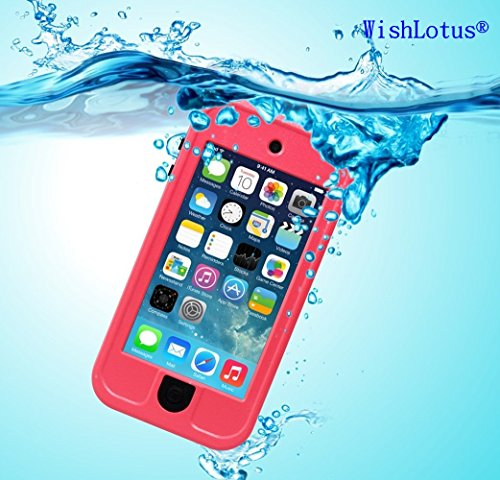 IPod Touch 6 Waterproof Case,IPod Touch 5 Waterproof Case,WishLotus® Waterproof Shockproof Dust Proof Snow Proof Touch Sensitive Case Cover for Touch 6/5 for Swimming Diving Outdoor Sports (Pink)