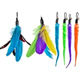 Depets 6 pack Cat Feather Toy Refills - Natural Feather Teaser Replacements For Interactive Cat Toy Wand