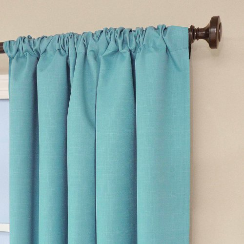 (42 x 63, Turquoise) - Eclipse 10707042X063TUQ Kendall 110cm by 160cm Thermaback Room Darkening Single Panel, Turquoise