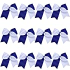 "8"" 2 Colors Jumbo Cheerleader Bows Ponytail Holder Cheerleading Bows Hair 12 Pcs (Royal blue/White)"