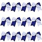 """8"""" 2 Colors Jumbo Cheerleader Bows Ponytail Holder Cheerleading Bows Hair 12 Pcs (Royal blue/White)"""