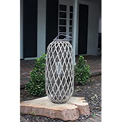 Kalalou Large Tall Grey Willow Lantern, One Size, Gray