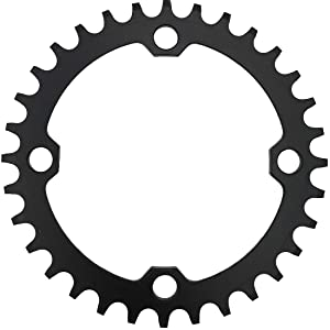 DECKAS 104BCD 32T 34T 36T 38T Narrow Wide Chainring, Single Chainring for 9/10/11-Speed with 4 Alloy Chainring Bolts (Round) (Black, 34T) (Color: Black, Tamaño: 34T)