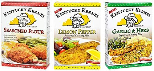 Kentucky Kernel Variety 3 Pack Seasoned Coating Mixes Includes - 1 Seasoned Flour, 10 oz. - 1 Garlic & Herb Mix, 7 oz. - 1 Lemon Pepper Mix, 7 oz.