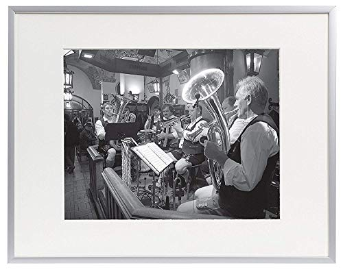 - Golden State Art, 11x14 Aluminum Silver Photo Frame, with Ivory Color Mat for 8x10 Pictures, Real Glass