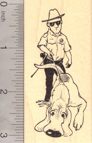 Police Bloodhound Trailing and Tracking, Search and Rescue Dog Rubber Stamp