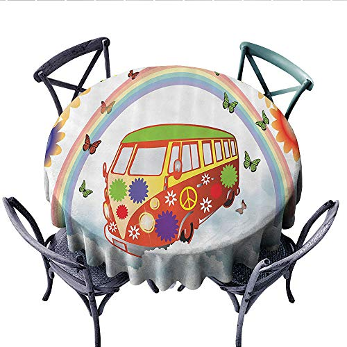 1960s Decorations Collection Patterned Tablecloth Flowers and Van Bus Wagon Colors Daisies Leaves Summer Flying Butterflies Image Waterproof Table Cover for Kitchen (Round, 70 Inch, Yellow Green)