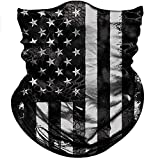 Obacle Motorcycle Face Mask Sun UV Dust Wind Protection Tube Mask Seamless Bandana Face Mask for Men Women Bike Riding Cycling Biker Fishing Outdoor Festival (US Flag Black Gray Line)