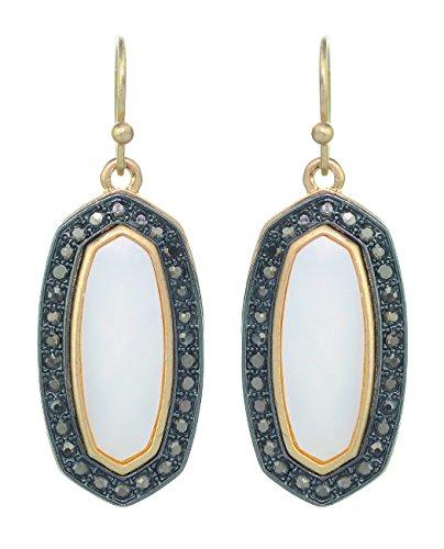 Women's Stone Stud Center Milky White Gem Elleptical Charm Hook Earrings - Gold/Hematite-Tone (Gold Hematite Ring)