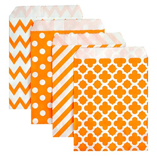 KEYYOOMY 100 Pcs Candy Buffet Bags Small Paper Treat Bags (Orange, 5 inch X 7 inch)