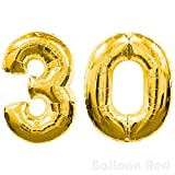 16 inch Foil Mylar Balloons for Wall Decoration (Premium Quality, Air Fill Only), Glossy Gold, Number 30