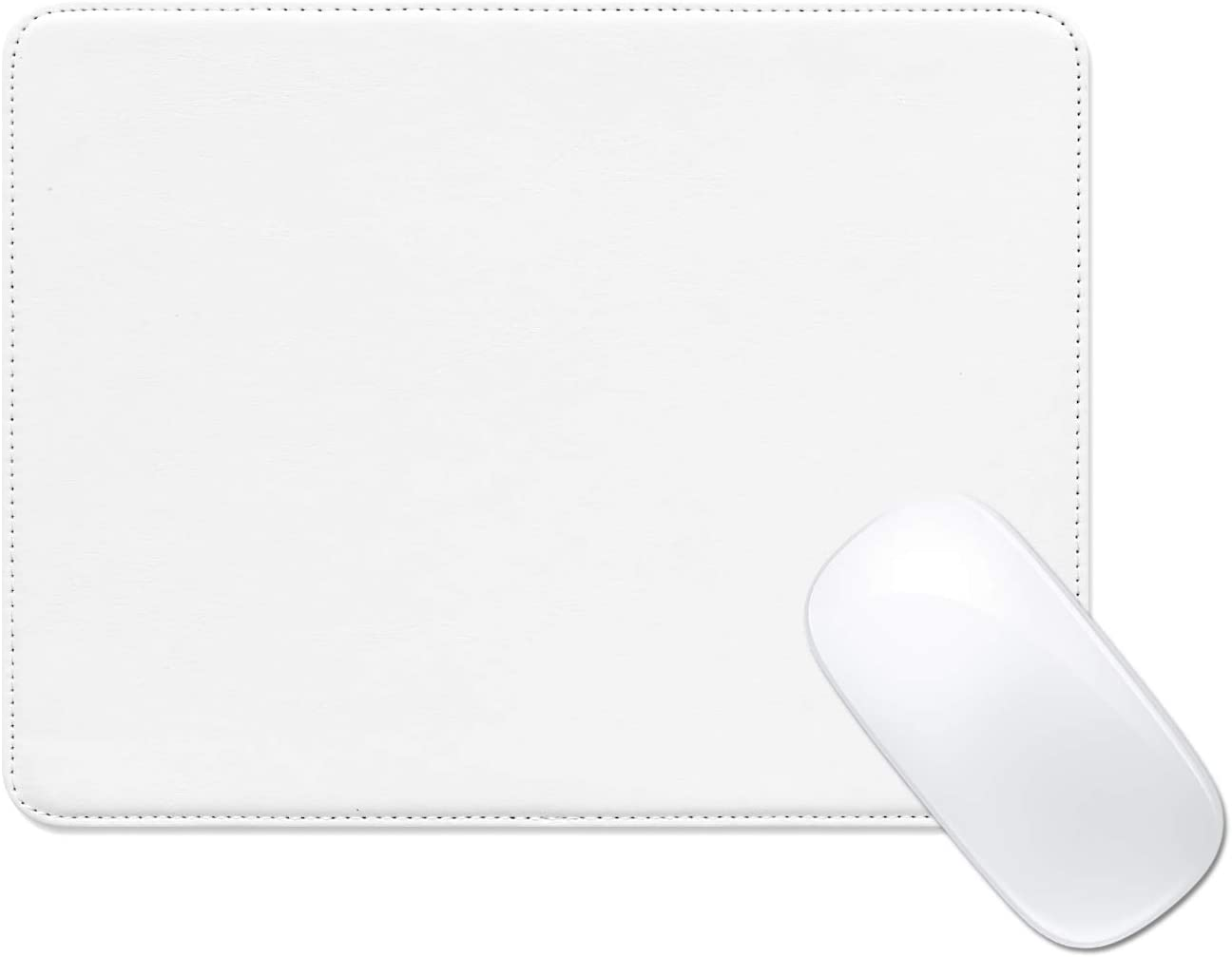 ProElife Mouse Pad Waterproof PU Leather Mousepad Dual-use for Home Office Business, Non-Slip/Noise-Reduction/Elegant Stitched Edge Laptop Computer Mouse Pad 9.8 x 7.5 inch (White)