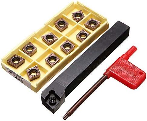 NO LOGO ZDX-CHEXIAODJ, SCLCR1212H09 Halter Drehwerkzeug Cutter Mit 10 stücke CCMT09T304-PM Klingen Einsatz CNC 100mm Hohe Qualität (Size : 100mm)