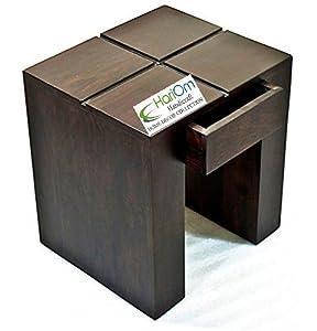 Hariom Hnadicraft Sheesham Wood Bedside Table for Bedroom, Wooden Side End Table for Living Room, Dark Walnut