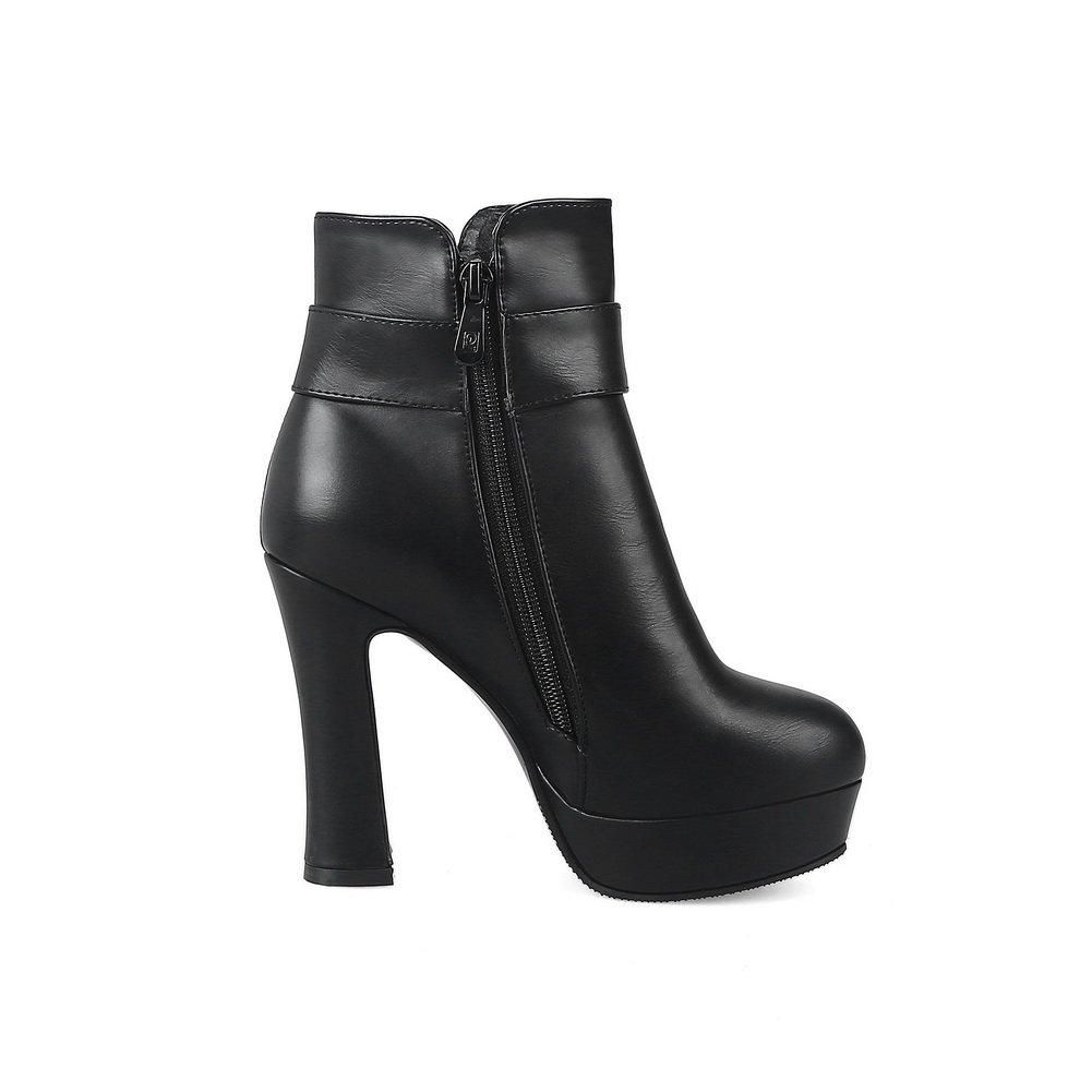 AandN Womens Boots Closed-Toe Zip High-Heel Warm Solid Warm High-Heel Lining Rubber Waterproof Low-Top All-Weather Glitter Urethane Boots DKU01902 B07918SYLD Boots 01c790