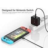 Charger kit for Nintendo Switch, iVAPO Type-C Charger for Switch 65W Dual Fast Charging AC Adapter with Foldable Plug and Cable for Switch Dock & Microsoft Lumia 950 & More Type-C Supported Devices