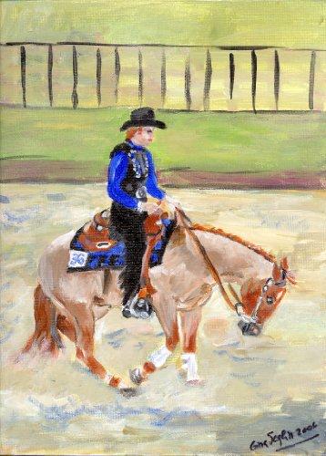 - Reining Quarter Horse Portrait Matted Art Print - 5 in x 7 in Design - 8 in x 10 in Matted