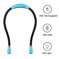 USB Rechargeable Neck Book Light for Reading in Bed Or Reading in car, 4 LED Bulbs 4 Adjustable Brightness, Hands Free for Night Jogging Or Mending Lamp (Blue)