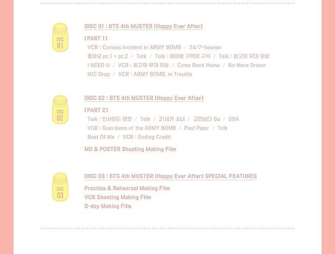BTS BANGTAN BOYS - BTS 4th MUSTER Happy Ever After DVD  3Discs+Photobook+Postcard+Photocard+Extra Photocards Set