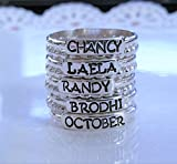 Personalized Sterling Silver Stacking Ring, Custom Name or Mother's Ring Stackable, Name Rings, Mothers Day Gift, Child Name Ring - 5 Name Set
