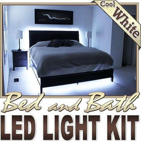 Biltek 16 4 Ft Cool White Bed Night Light Closet Tv Remote Controlled Led Strip Lighting Smd3528 Wall Plug Headboard Closet Make Up Counter Mirror