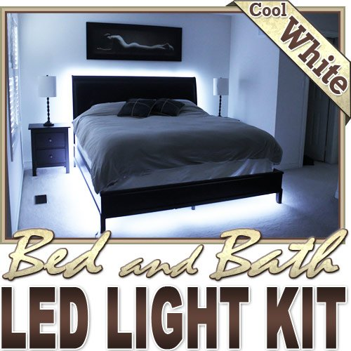 Biltek 16.4' ft Cool White Bed Night Light Closet TV Remote Controlled LED Strip Lighting SMD3528 Wall Plug - Headboard Closet Make Up Counter Mirror Light LED Strip 3528 SMD Flexible DIY 110V-220V