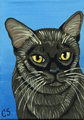 ACEO ATC Original Artist Trading Card- Burmese Pet Cat Art -Carla Smale