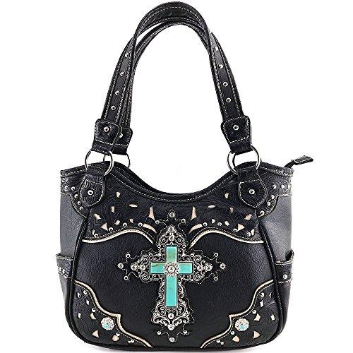 Justin West Western Floral Wing Embroidery Laser Cut Rhinestone Silver Cross Studded Shoulder Tote Handbag Purse Wallet (Onyx Purse)