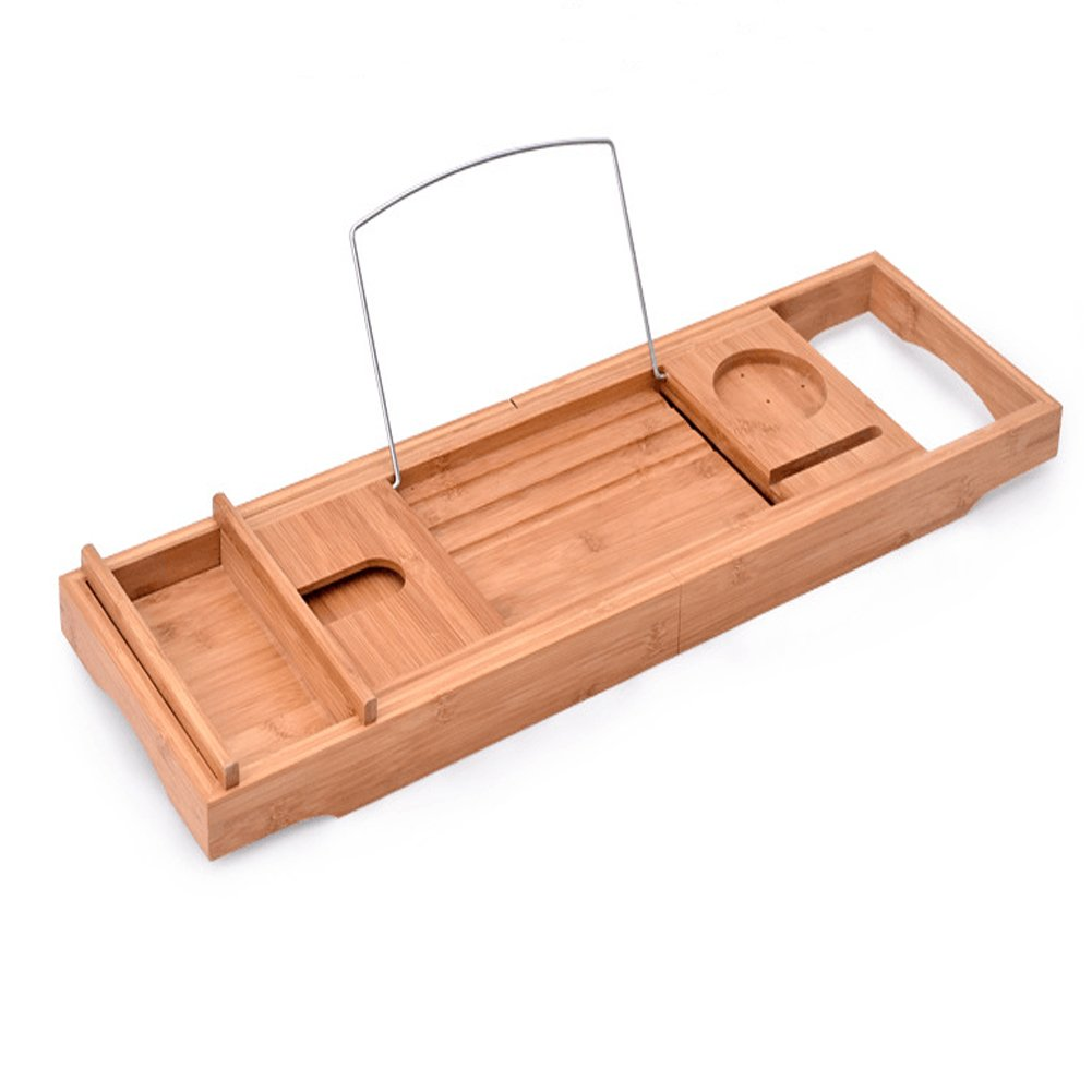 Luxury Wood Bamboo Bathtub Tray Bath Tub Caddy Tray Extending Sides Built in Wineglass Aromatherapy Candles Phone Holder Reading Rack Cellphone Tray Fit Most Tub MJ0001 by TUYU (Image #3)