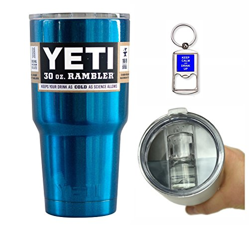 Yeti Coolers 30 Ounce (30oz) (30 oz) Custom Rambler Tumbler Cup Mug with Exclusive Spill Resistant Lid (Metallic Blue)