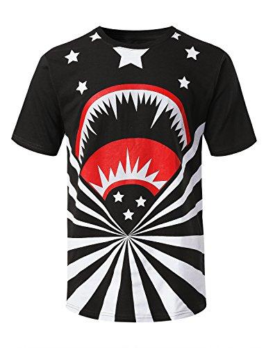 URBANCREWS Mens Hipster Hip Hop Shark Stars Graphic Print T-Shirt Black, L