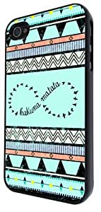 Iphone 4 4S Vintage Aztec Hakuna Matata Infinity design Fashion Trend Case Back Cover Metal and Hard Plastic Case-Clear Frame