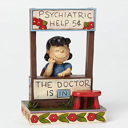 Jim Shore Peanuts Lucy Doctor is in Figurine 4042386 Charlie Brown]()