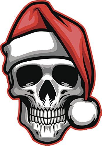 Icon Skull Hat - Simple Skull with Santa Hat Cartoon Icon Vinyl Decal Sticker (8